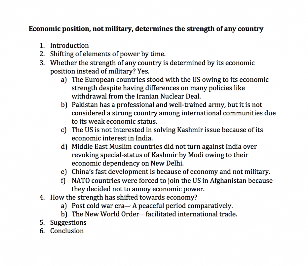 economic position not military determines the strength of any country